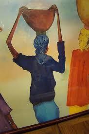 """Myrna Morris African Women """"Going to Market"""" Art U.S.A. Litho Co. Print  framed   #482661407"""