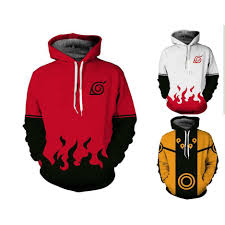 3D Print Naruto Hooded Couple Sweater Jacket Anime Pocket