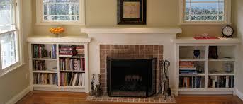 shelf or bookcase around a fireplace