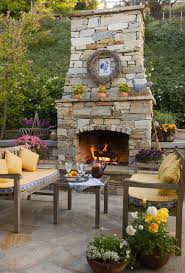 stone fireplace traditional patio