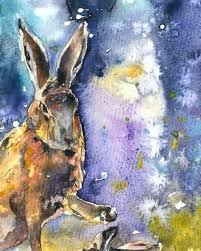 boxing hares original watercolour fine