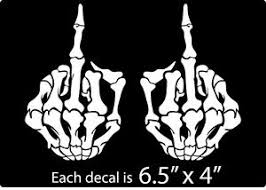 Set Of 2 Skeleton Bone Middle Finger Flipping Off Car Decal Sticker Skull Ebay