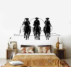 Vinyl Wall Decal Western Cowboys Horses Sunset Movie Cinema Stickers U Wallstickers4you