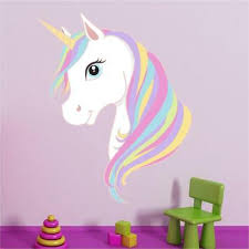 Unicorn Head Princess Girls Rainbow Wall Art Sticker Mural Decal Transfer P5o Ebay