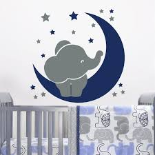 Baby Elephant Wall Decal Baby Room Decor Moon And Star Decal Etsy