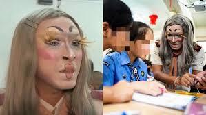thai teacher wears makeup so his