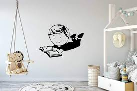 Amazon Com Wall Vinyl Sticker Boy Reading Book Back To School Kids Room Mural Decal Art Decor Lp1630 Handmade