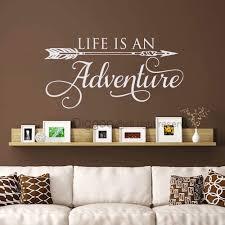 Amazon Com Diggoo Life Is An Adventure Wall Decal Quote Arrow Vinyl Decal Adventure Quote Inspirational Wall Words Travel Theme Vinyl Sticker White 15 5 H X 30 W Furniture Decor