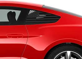 Amazon Com Bogar Tech Designs Precut Quarter Window American Flag Vinyl Decal Compatible With Ford Mustang 2015 2020 Gloss Black Automotive