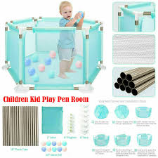 Baby Play Pen Kids Safety Fence Gate Indoor Outdoor Playroom Child Devider Panel For Sale Ebay