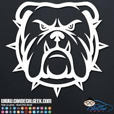 Tough Bulldog Dog Face Silhouette Car Decal Window Sticker