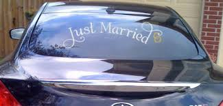 Just Married With Rings Car Window Decal Item Trading Phrases