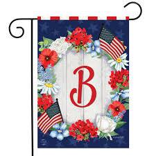 b whimsy snowman monogram garden flag