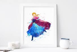 anna print frozen disney watercolor