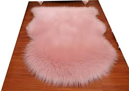 Living Room Or Bath Huahoo Faux Fur Sheepskin Rug Light Pink Kids Carpet Soft Faux Sheepskin Chair Cover Home Decor Accent For A Kids Room Childrens Bedroom Nursery 2 X 3 Rugs