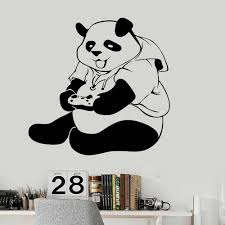 Panda Vinyl Wall Decal Teen Room Art Decor Video Game Wall Stickers Creative Home Decoration For Playing Room Dormitory Z124 Wall Stickers Aliexpress