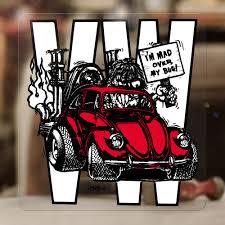Mad Over My Bug Ed Roth Sticker Decal Bus Samba Beetle Bug Aircooled Red 3 75 Ebay
