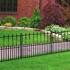 No Dig Empire Empire 2 42 Ft H X 3 15 Ft W Black Steel Pressed Point Decorative Fence Panel Lowes Com Fence Panels Fence Landscaping Aluminum Fence