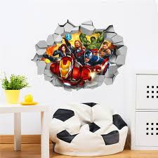 3d Marvel S Avengers Movie Through Wall Stickers For Kids Room Wall Decals For Sale Online