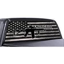 Amazon Com Fgd Brand Ar 15 Merica Truck Rear Window Wrap Black White Distressed American Flag Perforated Vinyl Decal Automotive