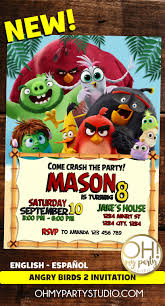Angry Birds 2 Invitations Angry Birds 2 Party Angry Birds 2
