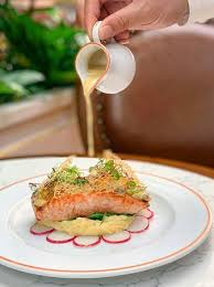 pan fried salmon with clam sauce