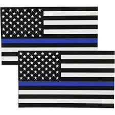 Amazon Com Fine Line Flag Auto Decals Thin Blue Line Flag Sticker 3x5 In Black White And Blue 2 Pack Automotive