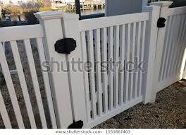 White Vinyl Picket Fence Gate Black Buildings Landmarks Stock Image 1555867403