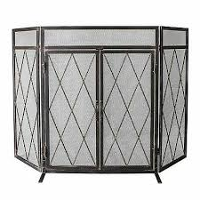 3 panel wrought iron fireplace screen