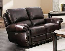 brown genuine leather power reclining