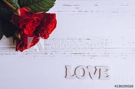red roses flowers with wooden word love