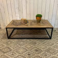 large reclaimed wood parquet coffee