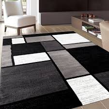 machine woven grey black white area rug