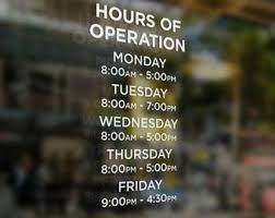 Items Similar To Rush Order Business Store Restaurant Open Operating Hours Window Decal Sticker On Etsy