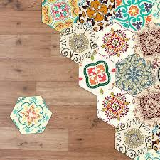 Walplus Colourful Turkish Hexagon Floor Tiles Stickers Home Decorations Diy Art In 2020 Mosaic Tile Stickers Floor Decal Sticker Wall Art