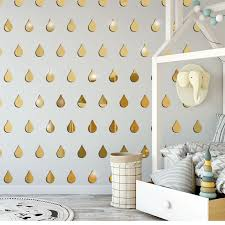 Abstract Drops Acrylic Plastic Mirrors Wall Gold Decal Decor Vinyl Art Stickers