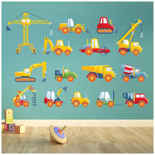 Boys Room Wall Stickers Cars Trucks And Diggers Boys Room Nursery Wall Stickers