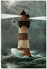 Lighthouse in a storm, historical artwork - Stock Image - C022 ...