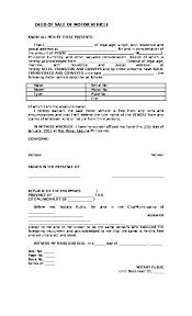 deed of of motor vehicle template