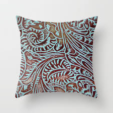 brown tooled leather throw pillow