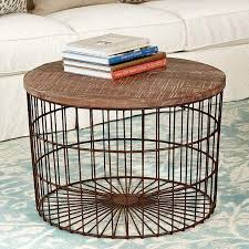 oren mango wood top basket coffee table