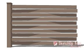 Fence Wood Horizontal Sketchup 3d Model Free Download