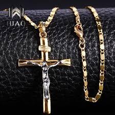 gold color cross pendant neckalce charm