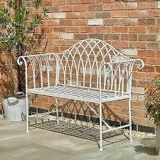 cream vintage garden bench