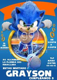 Sonic La Pelicula Tarjeta De Invitacion Digital O Video S 17 00