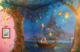 Mom Paints Tangled Wall Mural For Her Daughter S Bedroom Disney Mural Disney Wall Murals Kids Room Murals