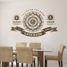 Compass Rose Wall Decal Custom Family Name Crew Vinyl Wall Sticker Nautical Home Decor Personalized Family Wall Art Mural Ay1276 Wall Stickers Aliexpress