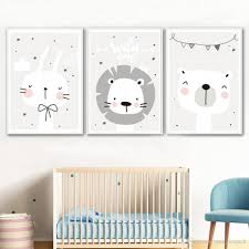 2020 Nordic Nursery Wall Decor Baby Animal Poster Lion Bear Rabbit Wall Pictures For Kids Rooms Cartoon Canvas Painting Unframed From Maggiequan 8 59 Dhgate Com