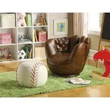 Ck Furniture Kids Baseball Swivel Chair Ottoman Glove Ball Faux Leather Recliner Teens Room