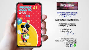 Tarjeta De Invitacion Mickey Mouse Para Whatsapp Youtube